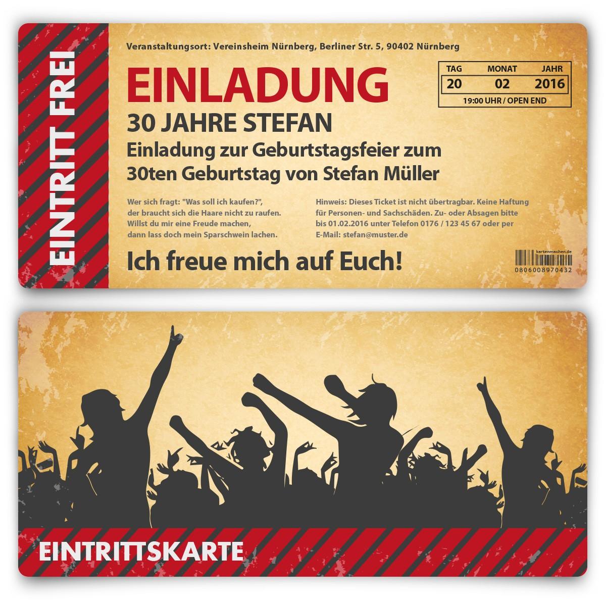 Schön 01 Einladungskarte Als Eintrittskarte Party Vintage_1 ...