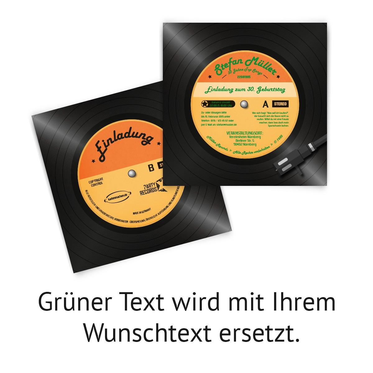 Schön ... 03 Einladungskarten Als Schallplatte Individuell Bedruckt