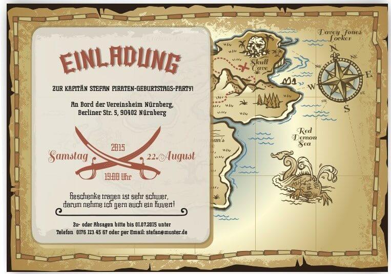 piratenparty ideen für kindergeburtstag - teil i - idventure, Einladung
