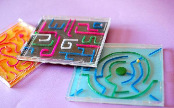 spass kinder basteln ideen kindergeburtstag CD H llen Labyrinth