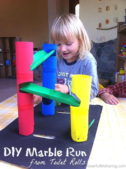 spass kinder basteln ideen kindergeburtstag Kugelbahne